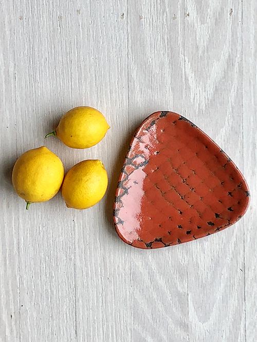 Triangular Dish _ Red Orange